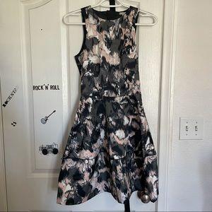 H&M Patterned Fit N Flow Evening Dress Size 2